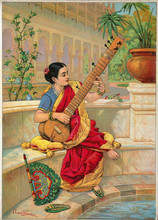 Ravi Varma Indian Woman Playing Sitar Oil Painting Handpainted Excellent Quality Art