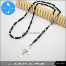 wholesale rubber banded stainless steel rosary necklace of fashion jewellery
