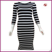 Cotton spandex rib knitted Lady long dress,white and black stripe lady dress