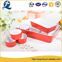Factory wholesale 6 pcs oven safe colorful ceramic bread baking tray