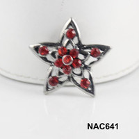 China alibaba women wholesale star rhinestone snap charm accessory free sample NAC641