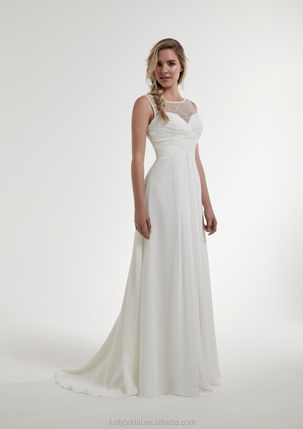 Zm16139 Chiffon Grecian Style Wedding Dresses Pleated Simple High ...