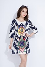 2015 Latest Fashion Dress For Women, Fashion Ladies Dress, Short Sleeve Floral Print Shift Dress