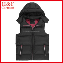Outdoor wear fashion body warmers with hoody and padding