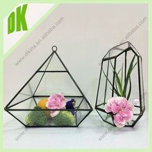 //Store your jewelry or add tiny figurines.// long neck Geometric tea light holder glass vase