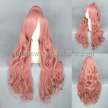 High Quality 80cm Long Wave Vocaloid-Luka Pink Synthetic Anime Wig Cosplay Hair Wig Ponytails Wig