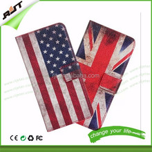 2015 UK USA national flag pattern flip leather pu wallet phone case anti-scratch factory price for iphone 6 / iphone 6 plus