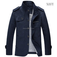 2015 New design button up wool fabric elegant jacket men
