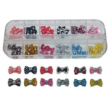 12 kinds New Design mini 3D Resin bow tie For Nail Art/bow tie resin nail sticker