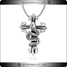 Gothic Fleur De Lis and Snake Cross Antique Silver Charm Pendant