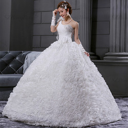 RR1502 2013 Cheap Heavy Lace One Shoulder Bridal Wedding Gown