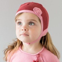 Guangzhou manufacture flower red baby girl skull cap