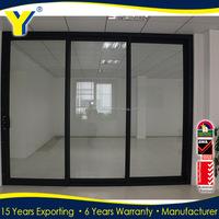 Commercial system aluminium panel sliding doors 3 panel sliding closet doors 3-track sliding closet door triple glass sliding do