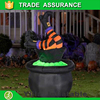 HALLOWEEN AIRBLOWN INFLATABLE KICKING WITCH With CAULDRON FOR YARD DECOR