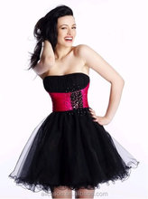 ZCE-456 Attractive Black And Pink Short Organza Red Cocktail Dress