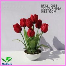 venta al por mayor 33cm artificial en maceta de flores de tulipán de color rojo