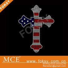New Christian design cross hotfix rhinestone transfer for garment