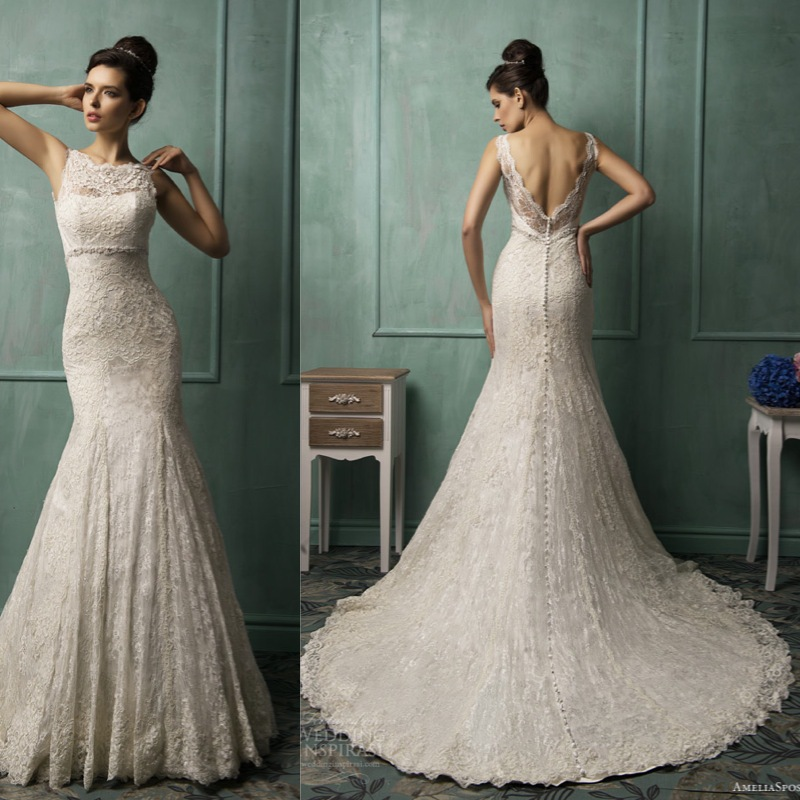Elegant High Neck Cap Sleeve Lace Mermaid Backless Wedding Dresses Sexy