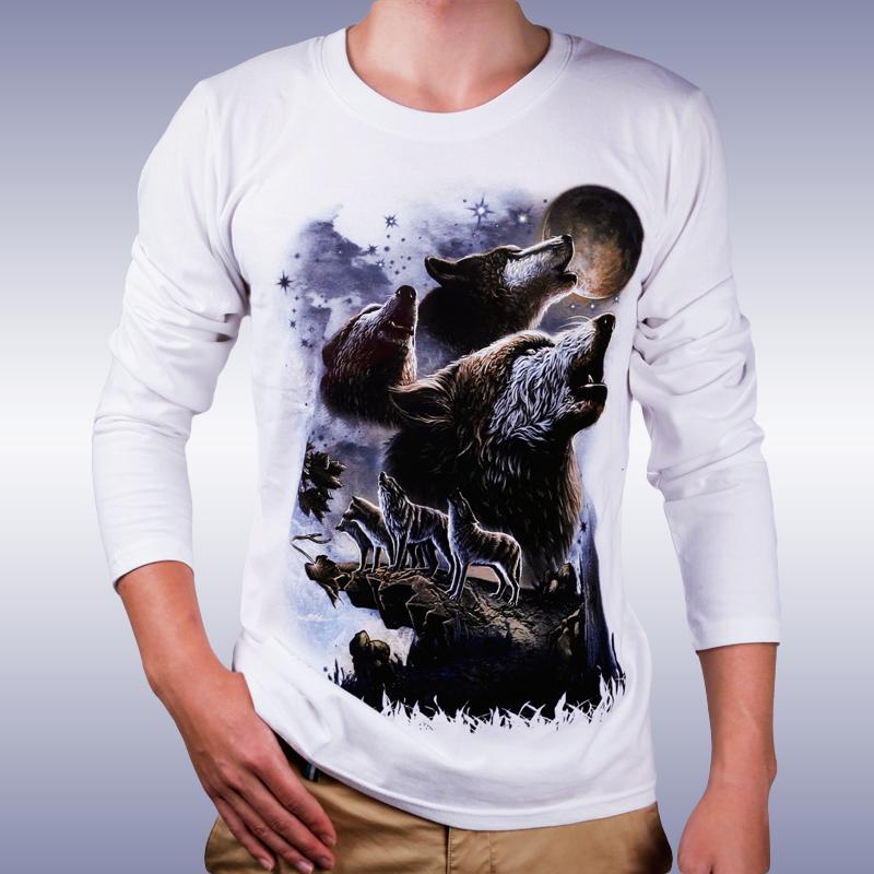 Long sleeve screen print custom t shirt 3d printing for for Custom printed long sleeve t shirts