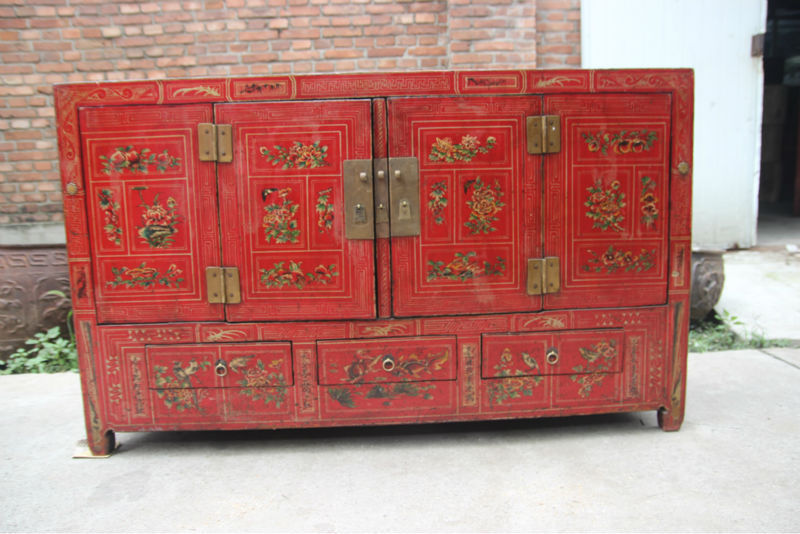 Distressed chinois peint la main de meubles anciens for Meuble cabinet chinois