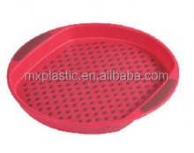 Wholesale plastic anti-skid food round serving tray with handle