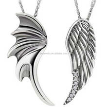 Angel Wings 925 Sterling Silver Couples Necklaces Pendants Matching Set Gift for Anniversary, Birthday, Wedding, Valentines Day