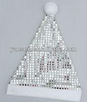 silver sequin santa hat with white pom pom for Children