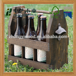 2016 year china factory FSC OEM pine 6 pack wooden beer wine glass bottle storage gift box tote carrier with bottle opener