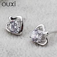 Fashion Zircon Jewelry white crystals from swarovski Heart Shape silver Stud Earrings