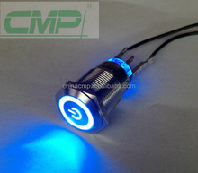 CMP metal illuminated IP67 reset push button computer power switch
