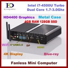 Kingdel Cheap Fanless Mini PC with 4GB RAM 128GB SSD, Intel i7-4500U Dual Core CPU Mini Desktop, USB 3.0, 4K, 4096*2160, DP