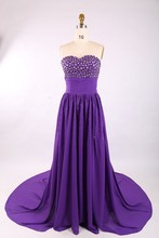 SED045 Real Picture A-line Sweetheart Empire Beaded Pleated Chiffon Purple Evening Dress With Tail 2015