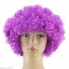 male Ball Match Crazy Fans Cheering Squad Thanksgiving Party Afro Cosplay Wigs QPWG-2157