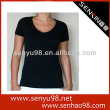 Character embroidered v neck women t shirt