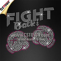 Fight Back Boxing Gloves Breast Cancer Rhinestone Transfer Wholesale Iron ons