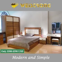 Cheap Chinese furniture modern walnut color kids bedroom furniture with dresser and cheap wardrobe from furniture manufacture