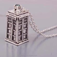 PRIMERO retro tardis pendant necklace vintage 3D Doctor Who TV series polices box Time Machine dangle long chain dangle pendants