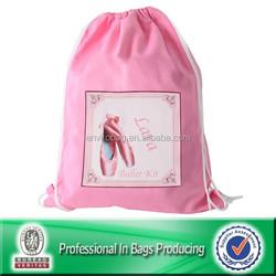 Small 210d polyester pink sling drawstring bag