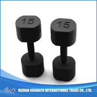 Body building hex head PU dumbbell set
