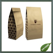 alibaba china manufacture custom brown flat bottom kraft paper bag with tin tie