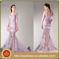 HTJ9 custom made sexy See Through evening dress 2015 online shopping Long Sleeve Lady Bandage Lilac Turkish evening dresses