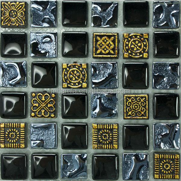 Sculpture motif or noir salle de bains carrelage mural en for Carrelage mural noir brillant