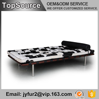 Black And White Leather Couch Sofa With Stainless Steel Legs
