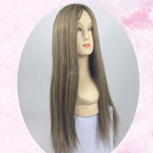 Factory Price Silk Straight Mongolian Hair Topper Wig Kosher Blond