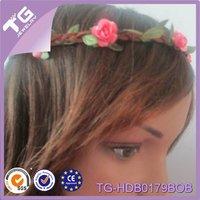 2014 hot design artificial flower wreath headband flower wreath for hair