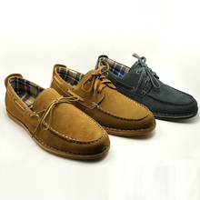 lace up cotton fabric lining smart looking boat loafer shoes newest genuine leather men casual shoes online