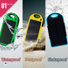 2015 New Product solar power bank 5000 mAh waterproof /shockproof / led light