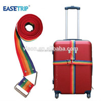 Rainbow Color Luggage Strap with Metal Buckle Adjustable PP Strap Travel
