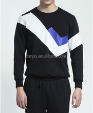 Black male money. Multicolor geometry splicing long-sleeved fleece