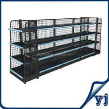 Grey supermarket shelf, pharmacy display rack & shelving, display shelves for retail stores
